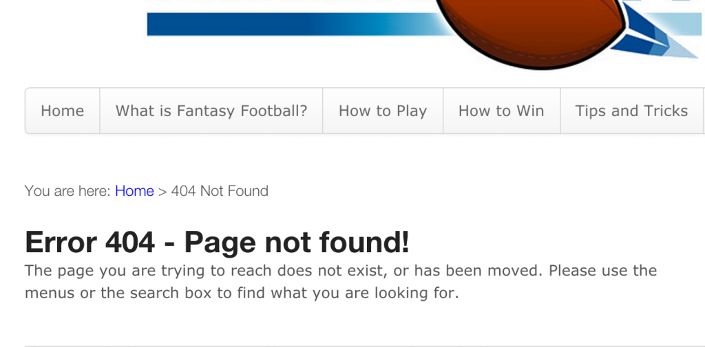 Charlie Page's 404 page - Fantasy Football niche