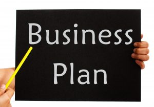 Business Plan Board Showing Management Strategy