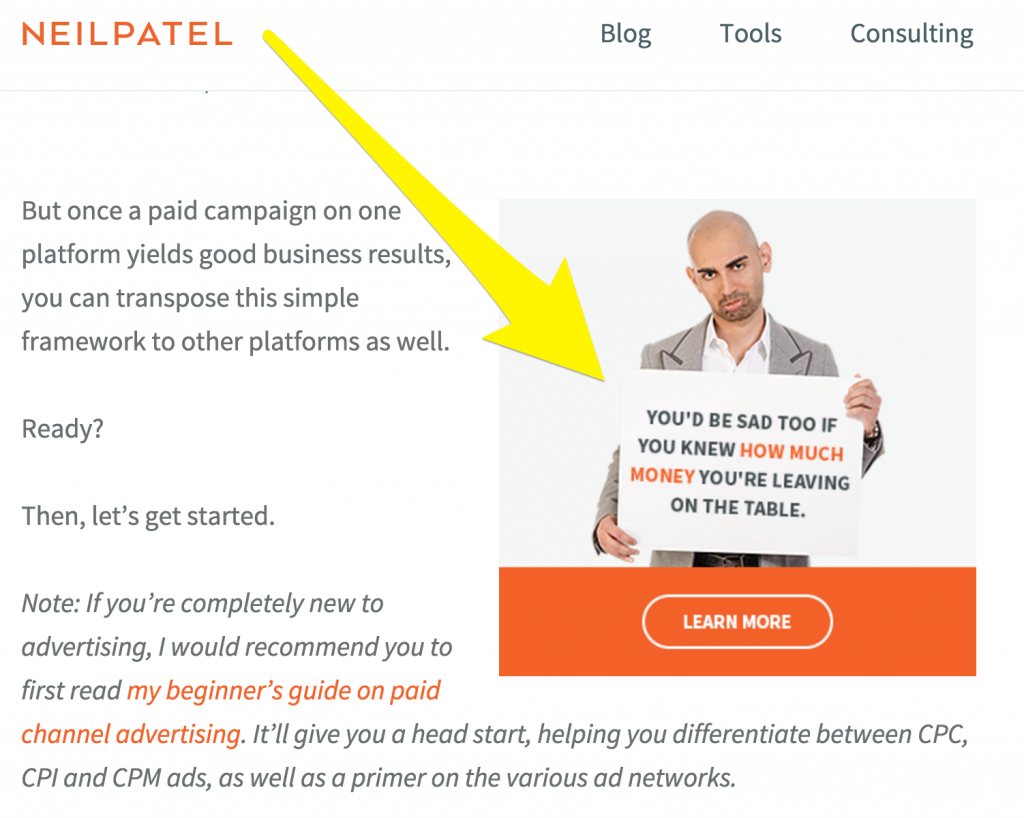 In post ad - Neil Patel